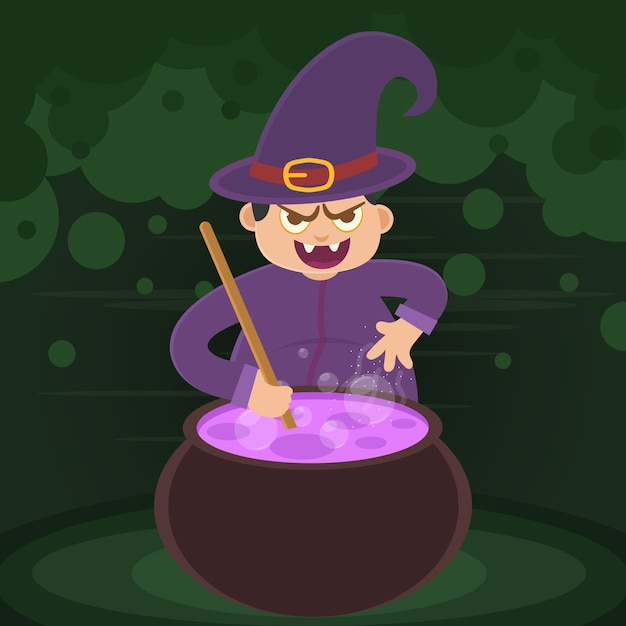 Vector of kid witch with purple clothes Premium Vector