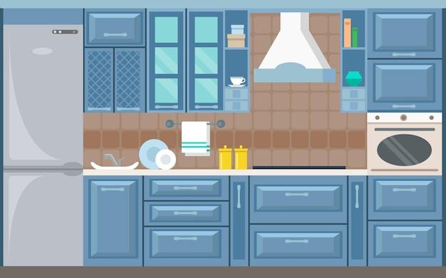 Vector kitchen interior card flat illustration Premium Vector