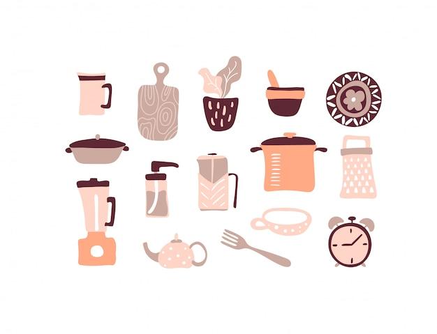 ベクトルキッチンツールセット。キッチン用品コレクション。たくさんのキッチンツール Premiumベクター