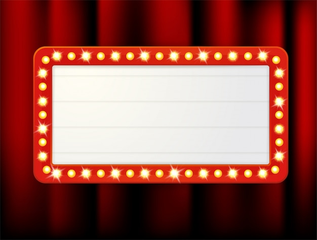 Vector label frames of empty retro light boxes for inserting your text. Premium Vector