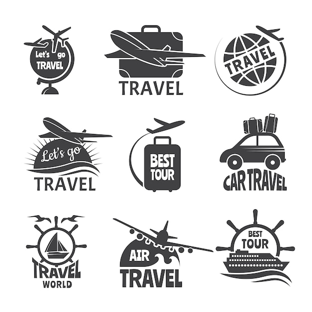 Vector label or logos forma travelling theme. monochrome pictures of airplanes Premium Vector