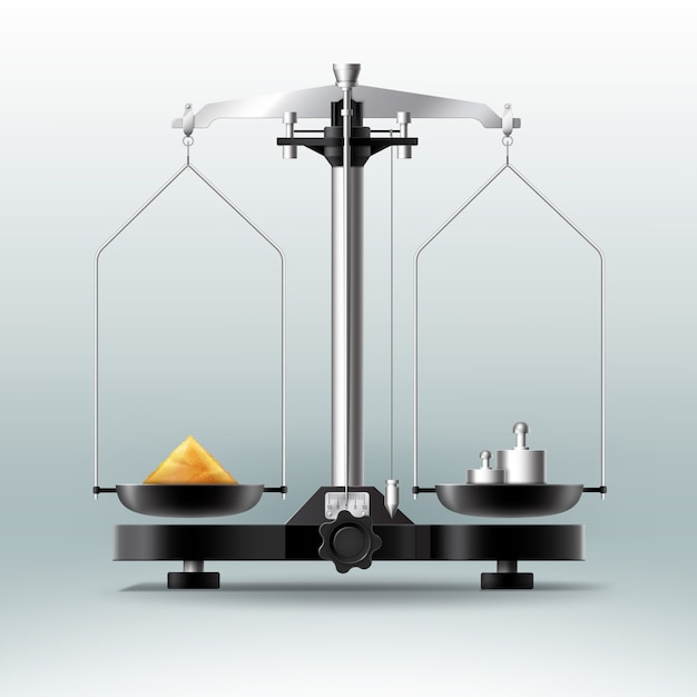 Equilibrio di laboratorio di vettore con pesi manubri e roba, vista laterale isolata su sfondo Vettore gratuito
