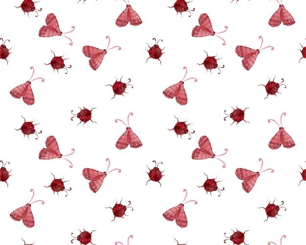Vector ladybug watercolor seamless pattern Premium Vector