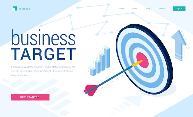 Vector landing page of business target Free Vector