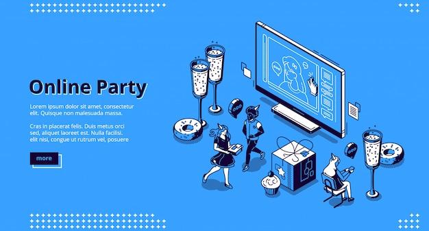 온라인 파티 개념에 대 한 벡터 방문 페이지 무료 벡터