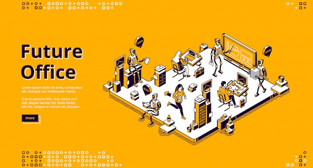 Vector landing page of future office with robots Free Vector