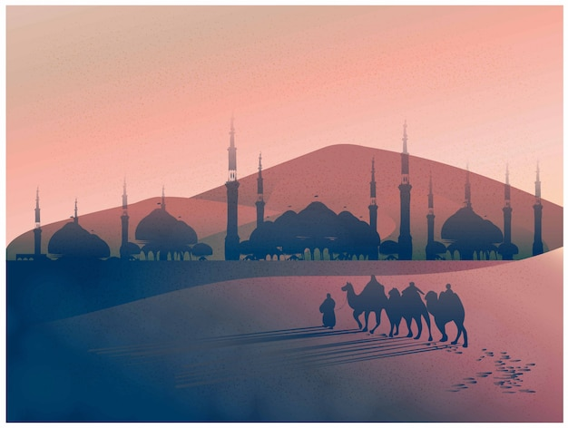 Vector landscape of arabian journey with camels through the desert with mosque Premium Vector