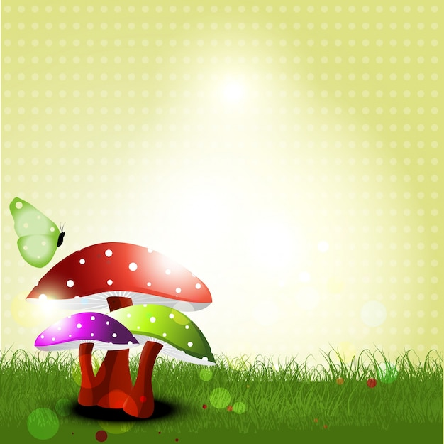 Vector landscape with mushrooms