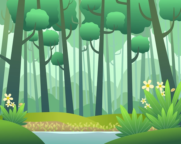 Vector landscape with pine forest in spring Premium Vector