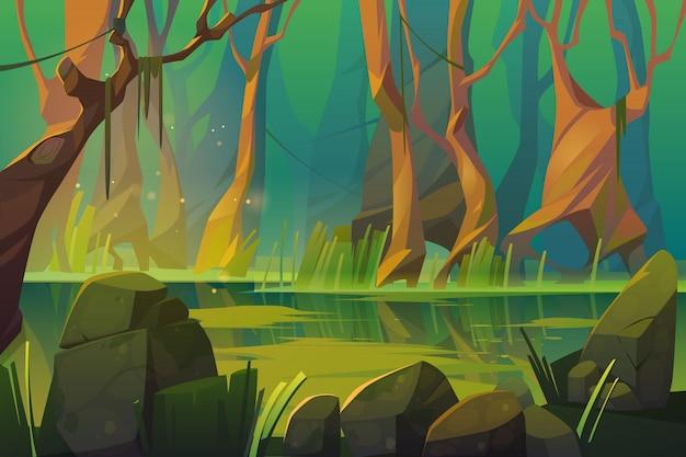熱帯林の沼のあるベクトル風景 無料ベクター