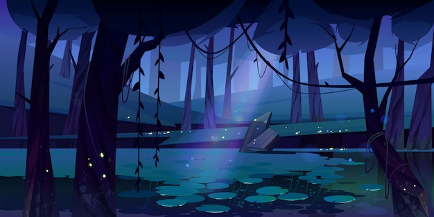 Vector landscape with swamp in night forest Free Vector