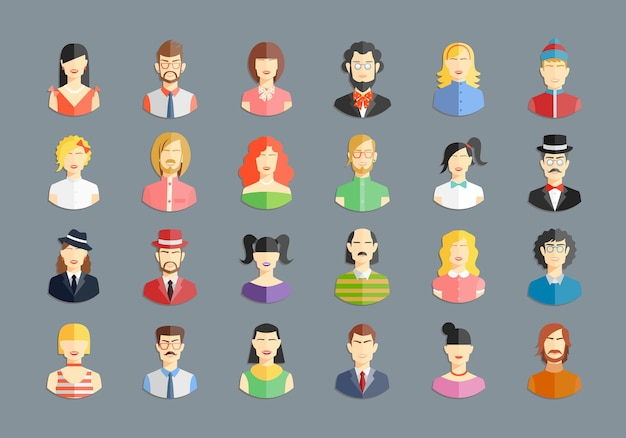 Vector large set of avatars. men and women, young people and girls icons Free Vector