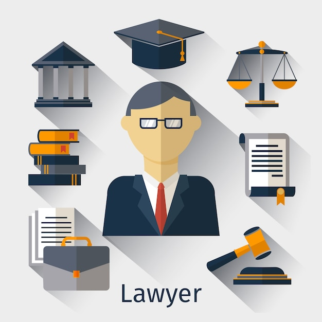 Векторный фон концепции юрист, поверенный или юрист. адвокат и поверенный, юрист, иллюстрация адвоката Бесплатные векторы