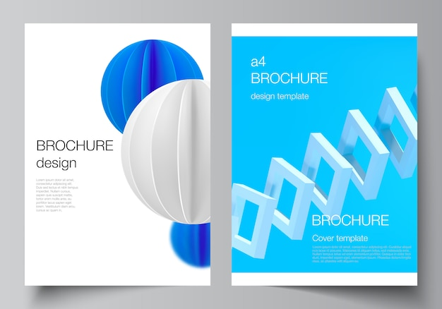 Vector layout of a4 cover mockups templates for brochure. 3d render vector composition with dynamic realistic geometric blue shapes Premium Vector