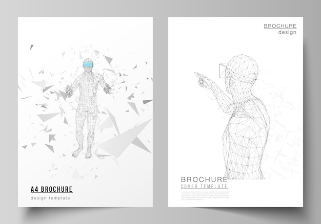 The vector layout of a4 format modern cover Premium Vector