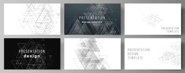 Vector layout of the presentation slides business templates, polygonal background with triangles Premium Vector