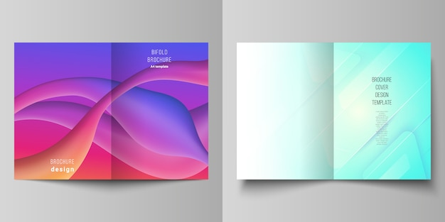 Vector layout of two a4 cover mockups design templates for bifold brochure, flyer Premium Vector