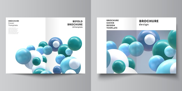 Vector layout of two a4 cover mockups template for bifold brochure, flyer, brochure cover. Premium Vector