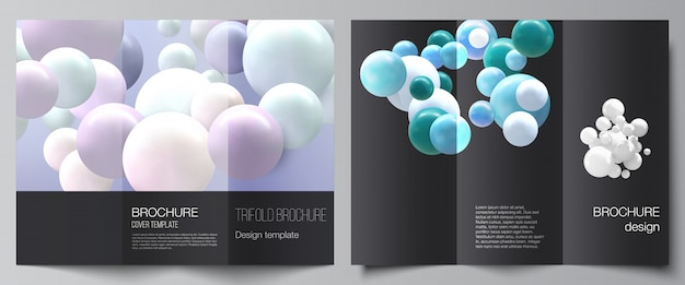 Vector layouts of covers design templates for trifold brochure, flyer layout. Premium Vector