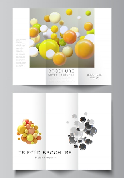 Vector layouts of covers design templates for trifold brochure Premium Vector
