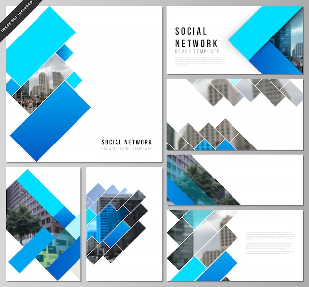 Vector layouts of social network mockups, abstract geometric pattern creative background Premium Vector
