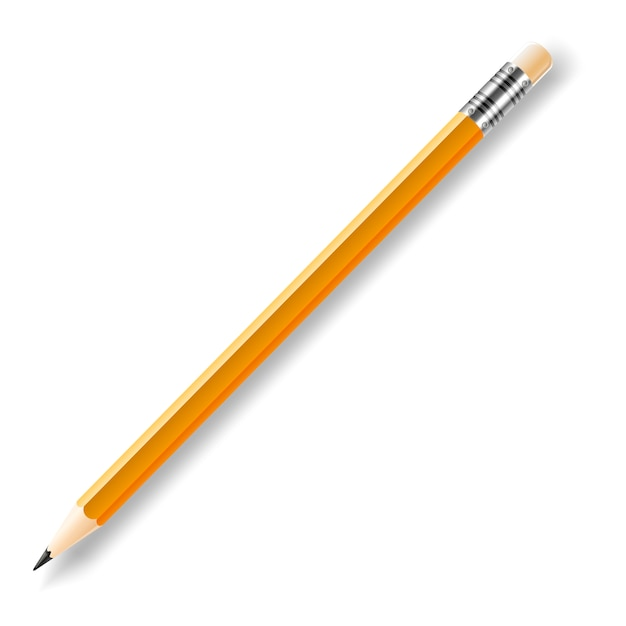 Vector lead pencil with yellow eraser isolated on white Premium Vector
