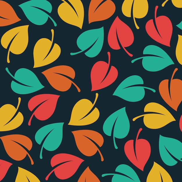 Vector leaves pattern background Free Vector