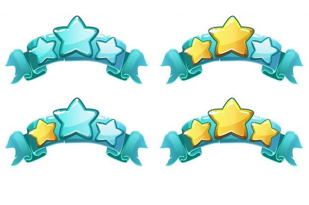 Векторный уровень завершения рейтинга баннеры со звездами на голубой ленте Premium векторы