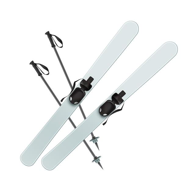 Вектор голубые лыжи и вид сверху черные палочки, изолированные на белом фоне Бесплатные векторы