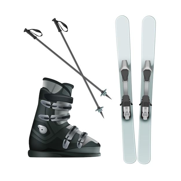 Vector sci blu chiaro con scarponi e bastoncini neri in alto, vista laterale isolata su sfondo bianco Vettore gratuito