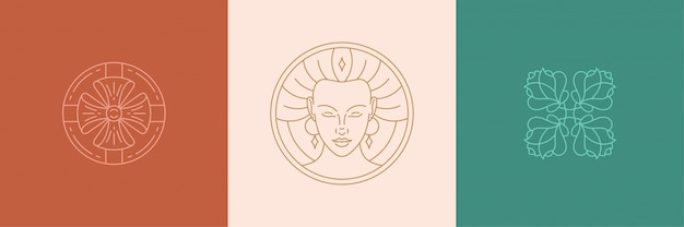 Vector line decoration design elements set - female face and rose illustrations linear style Premium Vector