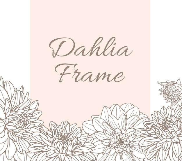 ダリアの花とベクトルラインフレーム Premiumベクター