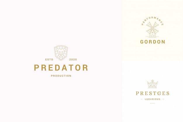 Vector line logos emblems design templates set Premium Vector