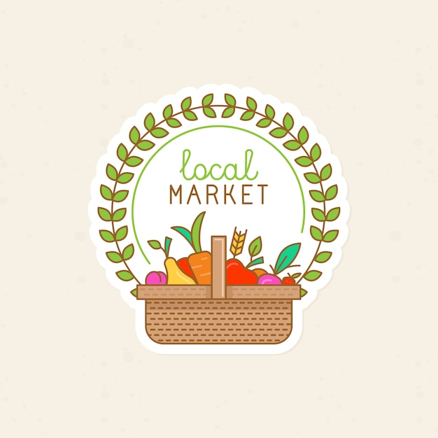 Vector linear badge - local market Premium Vector