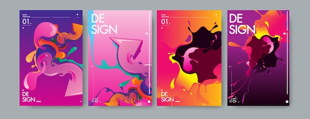 Vector liquid and flow colorful background. Premium Vector