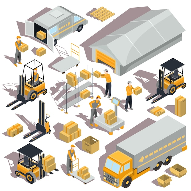 Vector logistic and delivery isometric icons Free Vector