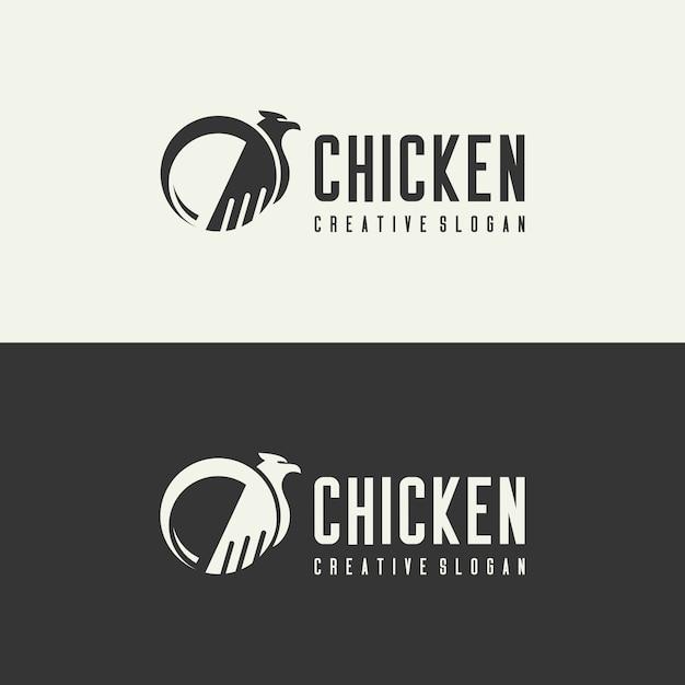 Векторный логотип курица концепция творческого Premium векторы
