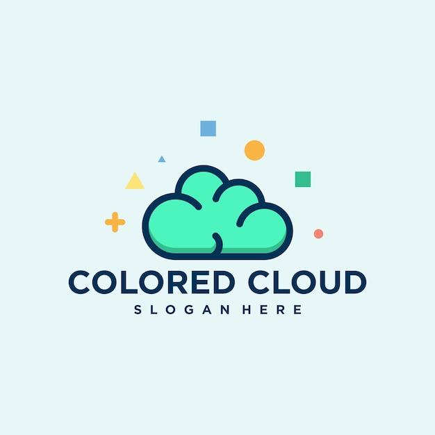 Векторный логотип цветное облако creative Premium векторы