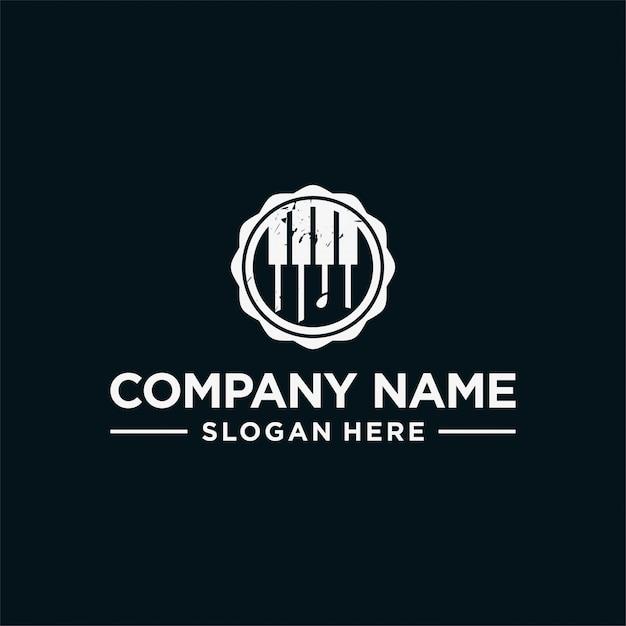 Векторный логотип дизайн премиум винтаж концепция пианино Premium векторы
