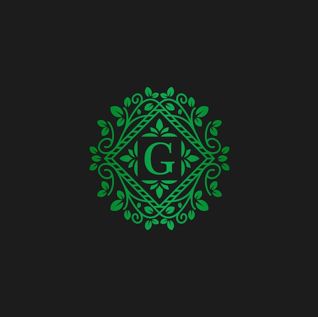 Vector logo design template and  letter g eco flowers Premium Vector