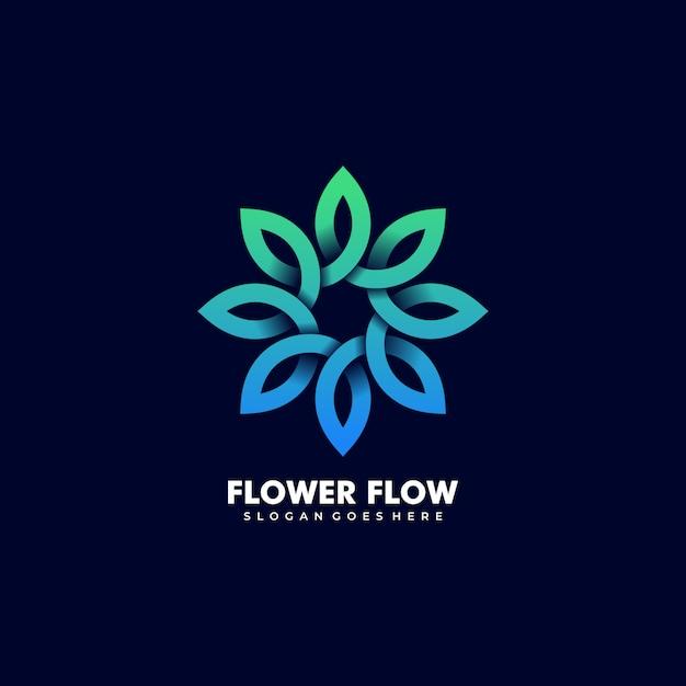 Векторный логотип иллюстрации абстрактный цветок лист бесконечности форма линии красочный стиль Premium векторы
