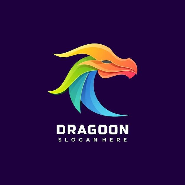 ベクトルロゴイラストドラゴングラデーションカラフルなスタイル。 Premiumベクター