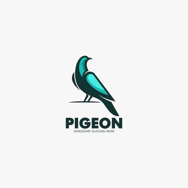 ベクトルロゴイラスト鳩マスコット漫画スタイル。 Premiumベクター