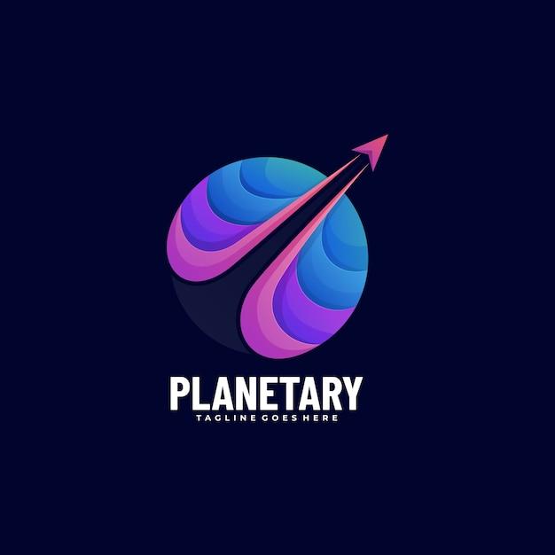 ベクトルのロゴイラスト惑星グラデーションカラフルなスタイル。 Premiumベクター