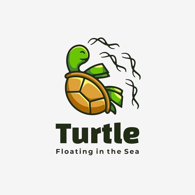 Векторные иллюстрации логотип черепаха простой стиль талисмана. Premium векторы