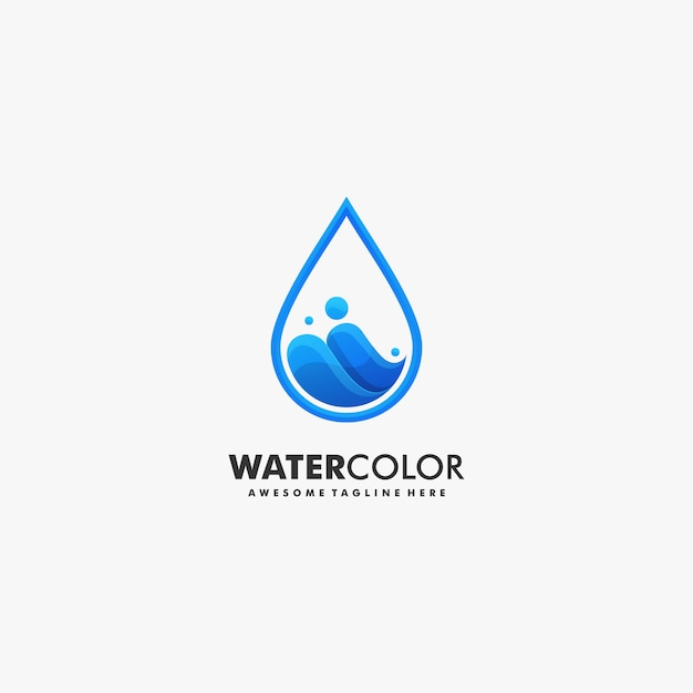 Vector logo illustration water gradient colorful style. Premium Vector