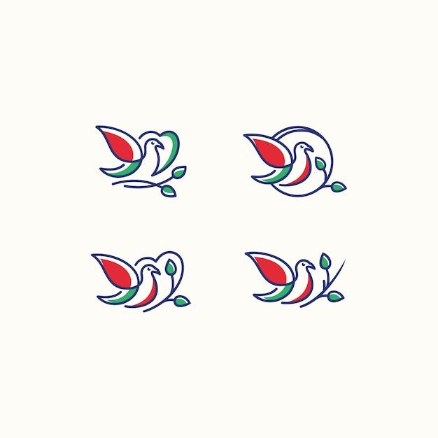 ベクトルロゴ愛の鳥のアイコンラインアートの絵 Premiumベクター