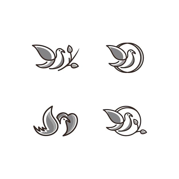 鳥のアイコンのロゴアイコンラインアート灰色 Premiumベクター