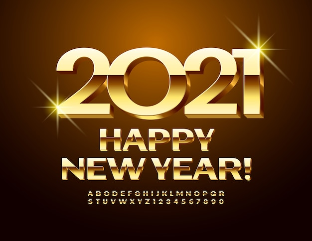 Vector luxury greeting card happy new year 2021! golden 3d font. glossy uppercase alphabet letters and numbers Premium Vector