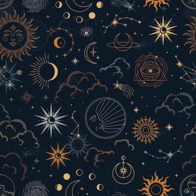 별자리, 태양, 달, 마법의 눈, 구름과 별 벡터 마법의 완벽 한 패턴입니다. 프리미엄 벡터